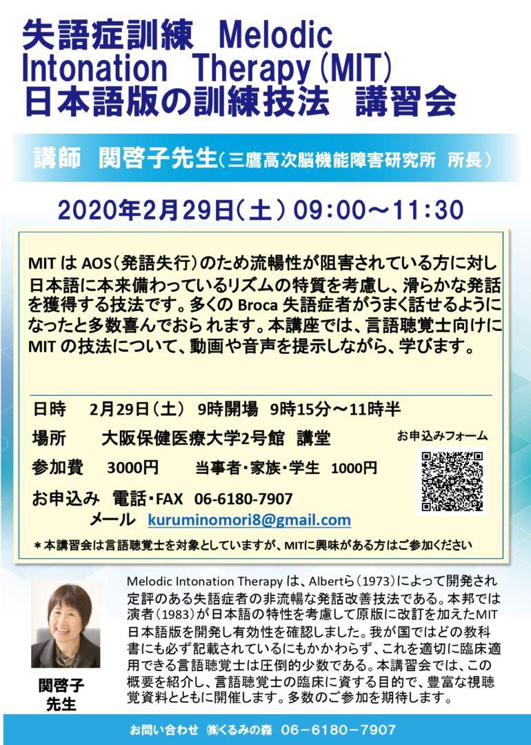 失語症訓練MIT日本語版の訓練技法講習会